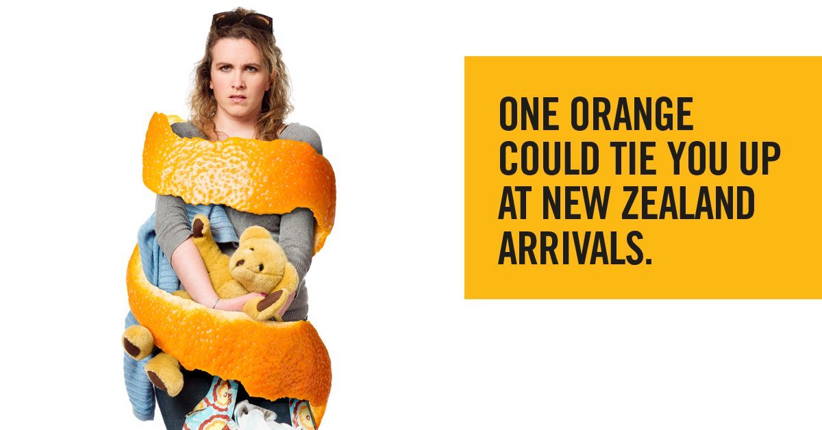 Image result for one orange could tie you up at new zealand arrivals